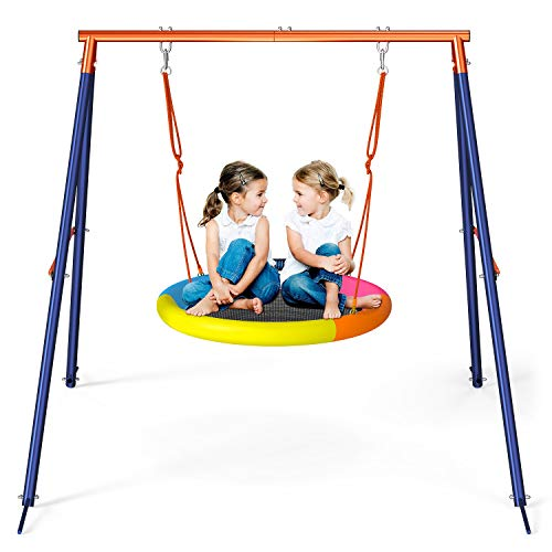 GIKPAL Saucer Swing with Stand for Kids Outdoor, 440lbs Swing Set with Heavy-Duty Metal Frame and Adjustable Ropes, Safe Waterproof Round Swing for Backyard Playground Park, Rainbow Color