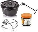 Petromax Feuertopf Starterset ft9 (Dutch Oven mit Standfüßen) inkl. Deckelheber + Pflegepaste + Untersetzer