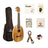 YOSENG Mango Wood Pinapple Style Ukulele Starter Kit with Aquila Strings, Tuner, Padded Gig Bag (Concert, Mango Wood)