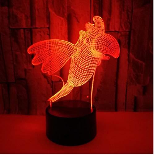Parrot Animal Bird 3D Illusion Led Lámpara 7 Colores Cambio Nightlight Escritorio...