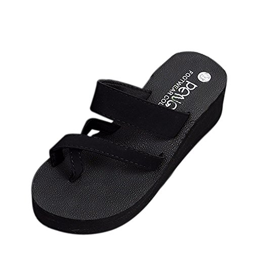 Read About ANJUNIE Women Beach Summer Flip Flops Shoes Sandals Slipper Flip-Flops Waterproof(3-Black...
