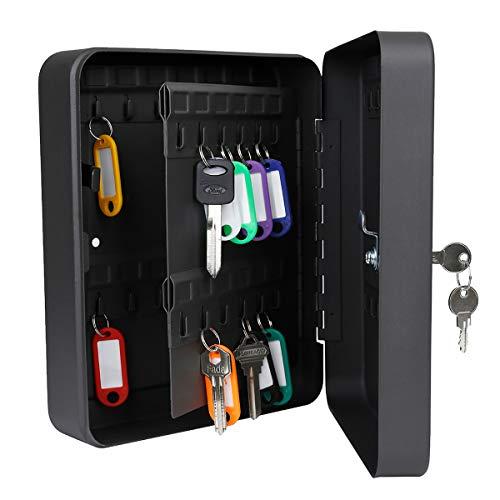 Uniclife 48 Key Cabinet Steel Sicherheitsschlüssel Organizer Lock Box Black Wall Mount