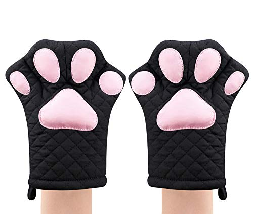Oven Mitts,Cat Design Heat Resistant Cooking Glove Quilted Cotton Lining- Heat Resistant Pot Holder Gloves for Grilling & Baking Gloves BBQ Oven Gloves Kitchen Tools Gift Set BBQ,Microwave (Black)