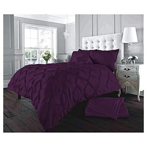 Lions Pinch Pleat Pintuck Bedding Set, Duvet Quilt Cover with Pillowcase, Button Closure, 3 Piece, Purple, King Size
