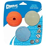 ChuckIt Fetch Medley 3, Max Glow, Rebounce, The Whistler, Durable High Bounce Rubber Dog Ball Toy, Launcher Compatible, Medium, 3 Pack