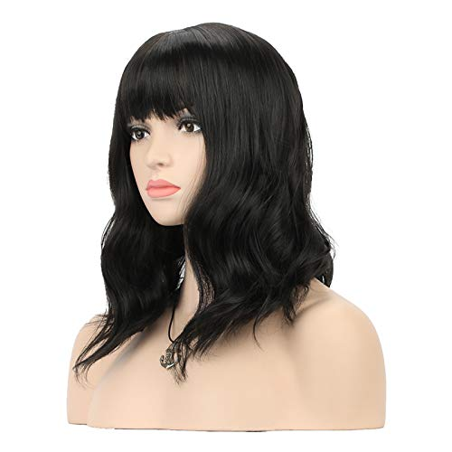 DAOTS Curly Wigs with Bangs for Women Girls Synthetic Wavy Hair Wig (14 inches, Black)