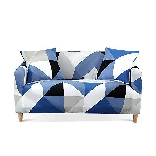 Carvapet Elasticizzato Copridivano Allungabile Universale Fodera per Divano Antiscivolo Sofa Protettore (Blu Triangolo, 3 posti)