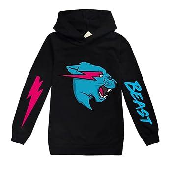 Mr Beast Lightning Cat Boys Girls Hoodie Long Sleeve Printing Hooded Sweatshirt Novelty Pullover for Kids  Black,170cm