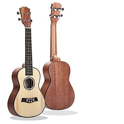 KEPOHK 23 '' Ukelele Full Caoba / 26 '' Chapa de abeto Perilla cerrada de metal Guitarra pequeña de cuatro cuerdas para principiantes C