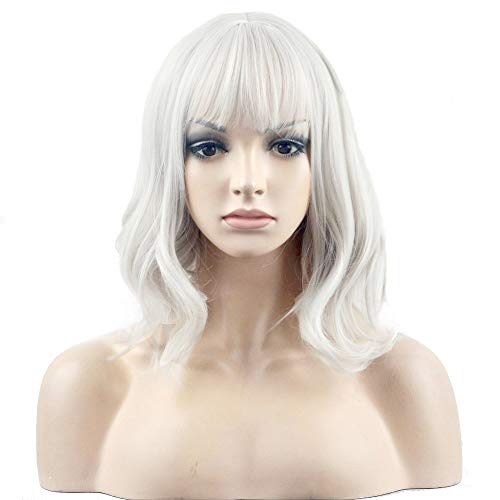 BERON 14 Inches Silver White Wig Short Curly Wig Women Girl's Synthetic Wig Silver White Wig with Bangs Wig Cap Included