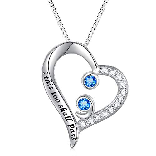Sterling Silver This Too Shall Pass Heart with CZ Semicolon Pendant Necklace for Women Girls (Blue)