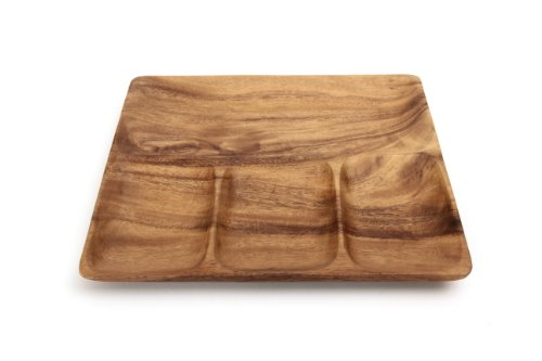 不二貿易 ランチプレート 幅25cm ブラウン アカシア 天然木 割れにくい 軽量 木製 食器 30151