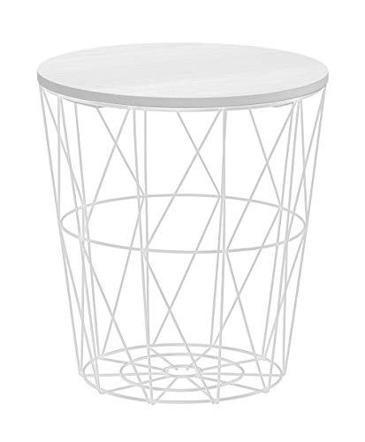 Meinposten. Beistelltisch Tisch mit Stauraum Couchtisch Korb Metall Holz Nachttisch weiß (Klein: Ø 29 cm x H 30 cm)
