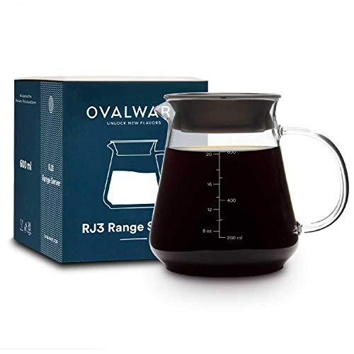 Caraffa da caffè in vetro per versare caffè e tè - Brocca Ovalware da 600 ml/20oz adatta per microonde e resistente al calore in vetro spesso 2,5 mm