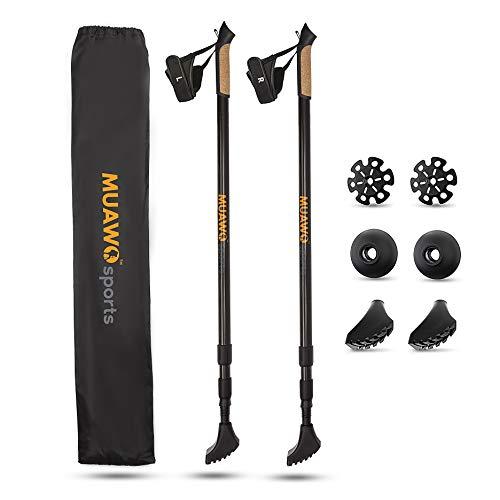 Muawo Premium Wanderstöcke Carbon 3K mit Naturkork Griff und Ultraleicht - Nordic Walking Stock verstellbar zum Wandern + Zubehör Trekkingstöcke Teleskop verstellbar für Damen und Herren