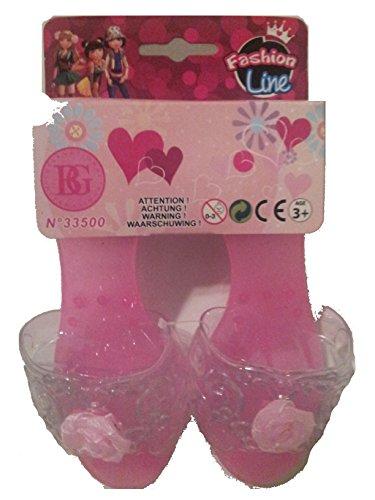 escarpins à talons mules enfant rose avec rose sur le dessus