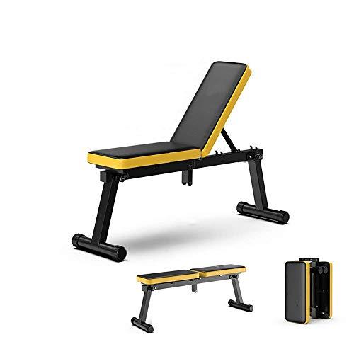 YVX Hantelbank Multifunktionale Klapp-Hantelbank AB Abdominal Crunch-Übungsbrett für das Heim-Fitnessstudio für das Ganzkörpertraining (Farbe: Gelb, Größe: 54x54x44cm)