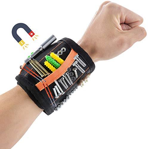 CNXUS Männer Geschenke Magnetisches Armband, Magnetischer Werkzeuggürtel mit 20 Leistungsstarken Magneten, Halten Werkzeuge für Schrauben Nägel Bohrernn, Bestes Geschenke für Vater Tischler Männer