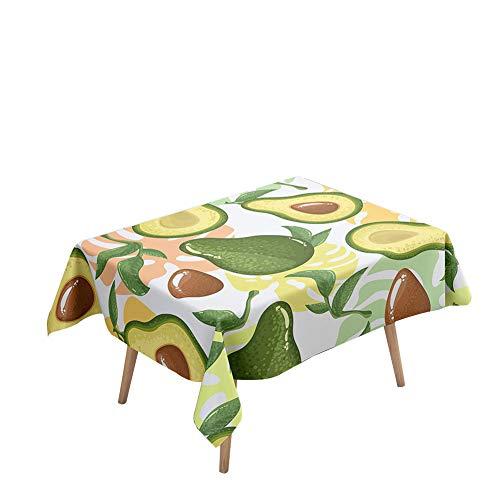 Morbuy Manteles Mesa Rectangular Antimanchas - Palta Fruta 3D Estampado Manteles Cuadrada Impermeable Lavable Mantel para Decoración Cocina Salón Jardín Comedor (Hojas de Monstera,140x180cm)