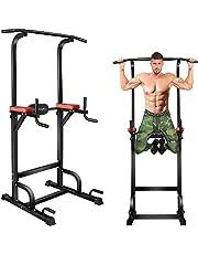 BangTong&Li ぶら下がり健康器 懸垂マシン 耐荷重150kg 懸垂 器具 筋肉トレーニング 背筋 腹筋 大胸筋 懸垂バー (ブラック+レッド(背面クッションあり))