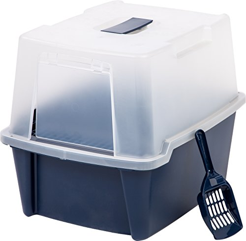 IRIS USA Large Hooded Litter Box with Scoop and Grate, Blue CLH-15