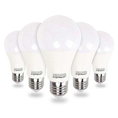 Aigostar - Bombilla LED E27, 12W, Luz calida 3000K, 984 lúmenes, Ángulo 280°,no regulable - 5 unidades