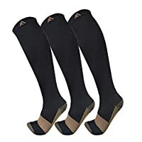 Copper Compression Socks For Men & Women(3 Pairs),15-20mmHg is Best For Running,Athletic,Medical,Pregnancy and Travel from