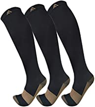 Copper Compression Socks for Men & Women(3 Pairs),15-20mmHg is Best Stockings for Running,Nurses,Athletic,Medical,Pregnancy,Travel-Boost Performance, Blood Circulation & Recovery(Black,Large/X-Large)
