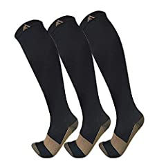 ✅COPPER COMPRESSION SOCKS - Copper is a great conductor of electricity, we extended its natural property to rejuvenate blood circulation in your legs through copper fibers capable reviving blood circulation along with providing a 15-20 mmHg compressi...