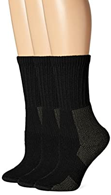 Thorlos Women's KX Hiking Thick Padded Crew Sock, Black (3 Pack), Medium