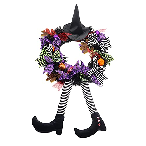 Ghirlanda della strega di Halloween, ghirlanda da appendere alla porta d'ingresso della ghirlanda di Halloween per la decorazione della festa, ghirlanda della porta d'ingresso della ghirlanda della