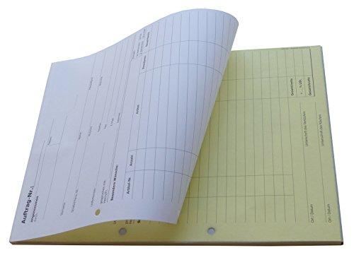 1x Auftragsblock Block Auftrag DIN A4, 2-fach selbstdurchschreibend, 2x50 Blatt weiß/gelb - gelocht (22204)