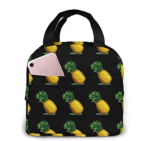 Bolsa de almuerzo portátil Fruit Pineapples para mujeres y niñas adolescentes Fiambrera aislada para viajes de trabajo y escuela