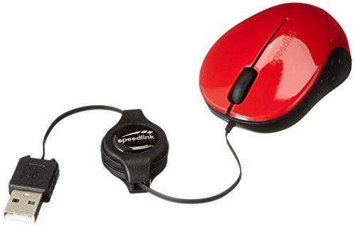 Speedlink BEENIE Mobile Mouse - Maus mit USB Anschluss, justierbarer Kabellänge und geräuschlosen Tasten - rot