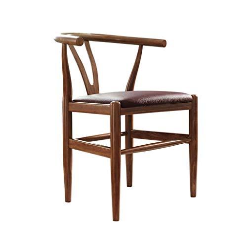 WSDSX Ergonomischer Stuhl Stuhl Esszimmerstuhl Holz Gepolsterte Freizeitstühle Pu Leder Home Stühle Wohnzimmer Konferenzbüro (46 × 42 × 72 cm)