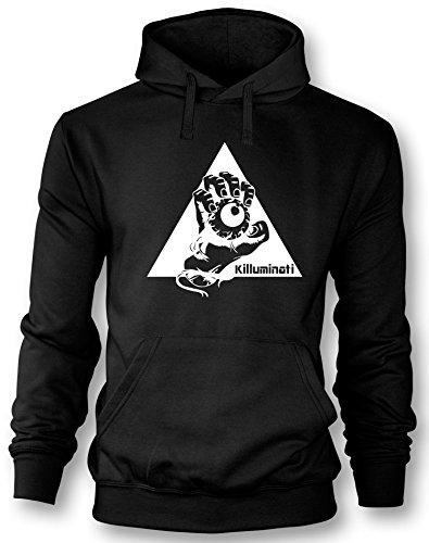 Angry Shirts Illuminati Killuminati Faust - Herren Hoodie Schwarz - Weiß in Größe XL