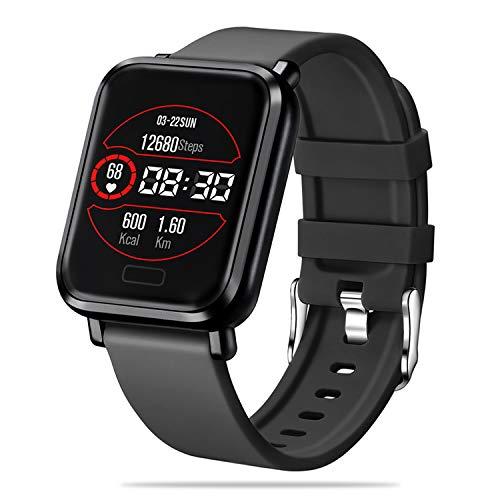 FENHOO Smartwatch, Fitnessuhr mit Schrittzähler, Blutdruckmessgerät, Fitness smartwatch mit Musiksteuerung, IP68 wasserdichte smartwatch kompatibel mit iOS Android für Männer Frauen (Schwarz)