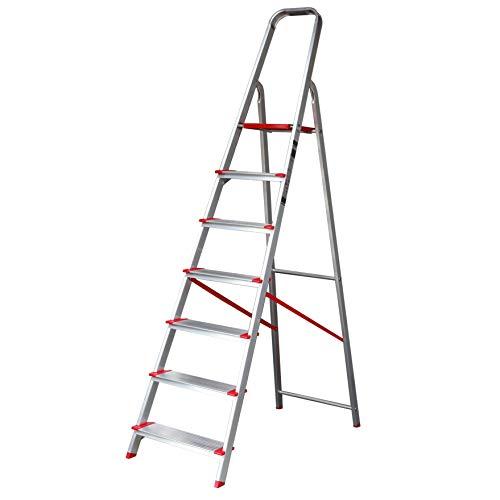 Escalera SUPER de Tijera de Aluminio Peldaño Ancho 12 cm (7 Peldaños con Ancho 12 cm). BTF-TJB307