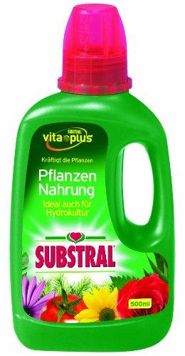 Substral Pflanzen-Nahrung, Qualitäts-Flüssigdünger für alle Pflanzen im Zimmer, auf Balkon und Terrasse mit wertvollen Nährstoffen und chelatisierten Spurenelementen, 500 ml Flasche