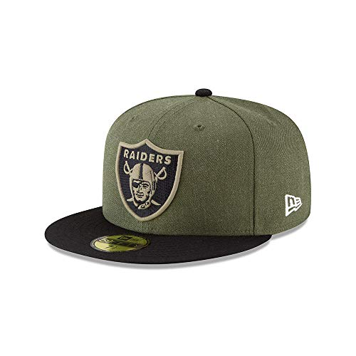 New Era Oakland Raiders On Field 18 Salute to Service Cap 59fifty 5950 Fitted Limited Edition, Green, 7 3/8 - 59cm (L)