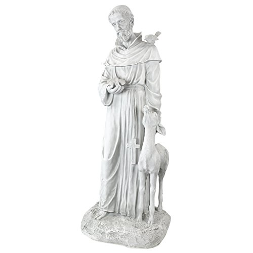 Design Toscano KY1336 Francis of Assisi, Patron Saint of Animals Religious Garden Decor Statue, 26 inch, 37 Inch, Antique Stone