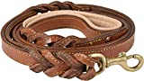 """🐕 Genuine Full Grain Leather Leash: Our dog leash is made from beautiful premium grade thick leather to last even through extreme conditions - Six feet long, 3/4"""" wide and 0.20"""" thick and is available in 3 beautiful colors – Tan, Black & Brown. 🐕 Han..."""