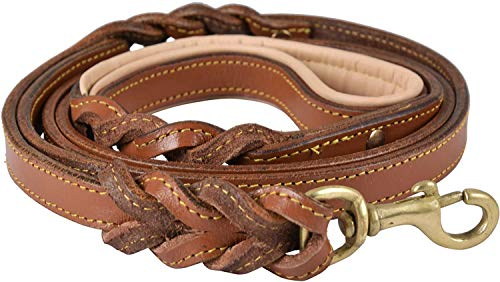 DowgClub | 6 Feet Heavy Duty Genuine Leather Dog Leash for Small, Medium & Large Breeds | Hand Made, Hand Braided | 2 Handle Design | Soft, Padded Handle | Black, Brown & Tan | 6' x 3/4 Inch