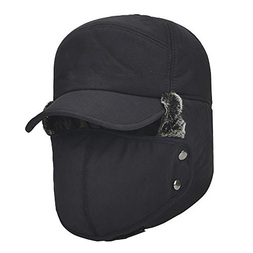 YINQAG Winter Warm Facemask Cap, 3 in 1 Bomber Hat with Full Face Ear Flap, Men Trapper hat with Fur Lined (Black)