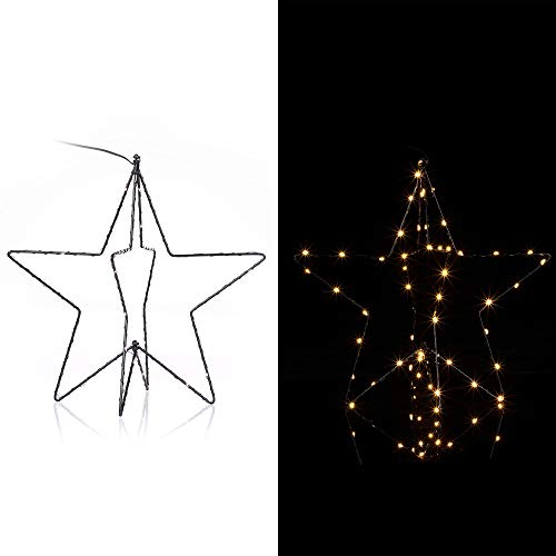 Casaria LED Weihnachtsdeko mit Batterie 6h Timer Stern Fenster 3D beleuchtet Innen Außen Fensterdeko Weihnachten Deko
