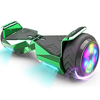 HOVERSTAR Hoverboard HS 2.0v Chrome Color Flash Wheel with LED Light Self Balancing Wheel Electric Scooter (Chrome Green)