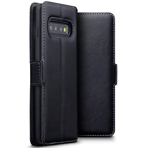 TERRAPIN, Kompatibel mit Samsung Galaxy S10 Hülle, Premium ECHT Spaltleder Flip Handyhülle Samsung Galaxy S10 Tasche Schutzhülle - Schwarz