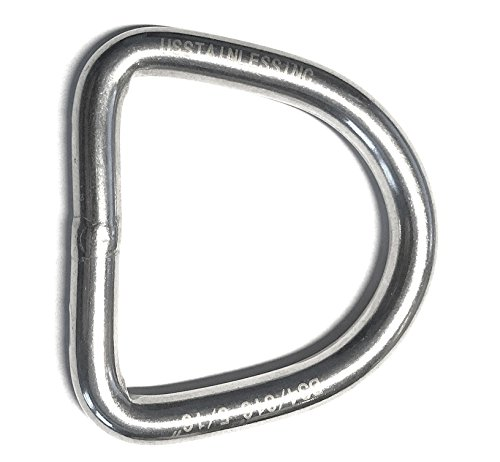 Stainless Steel 316 D Ring Welded 8mm x 50mm (5/16' x 2') Marine Grade Dee