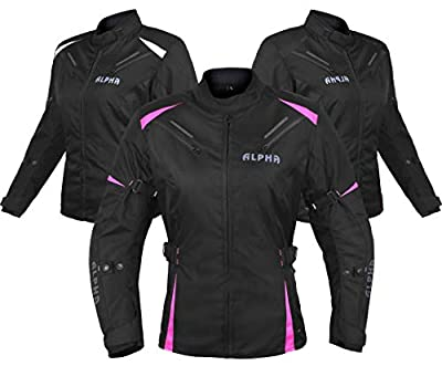 Alpha Cycle Gear All Season Women Motorcycle Jacket Waterproof Riding With Ce Armour (black/pink, Large) by ALPHA CYCLE GEAR