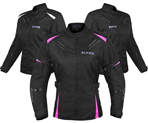 ALPHA CYCLE GEAR ALL SEASON WOMEN MOTORCYCLE JACKET WATERPROOF RIDING WITH CE ARMOUR (BLACK/PINK, X-LARGE)